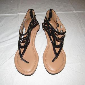 Torrid t-strap studded sandals black low wedge 8W